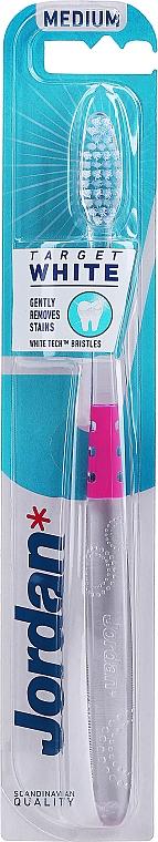 Periuță de dinți duritate medie, roz - Jordan Target White — Imagine N1