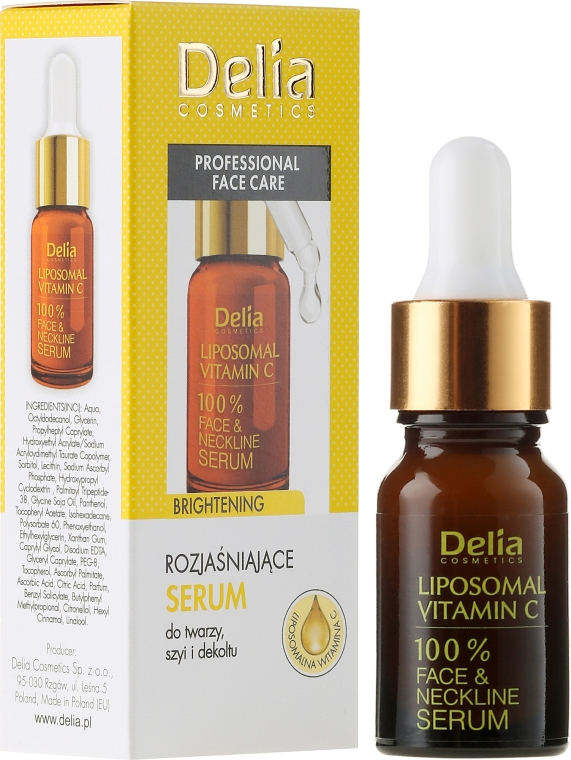 Ser pentru față, gât și decolteu - Delia Liposomal Vitamin C 100% Face Neckline Serum Anti Wrinkle Treatment