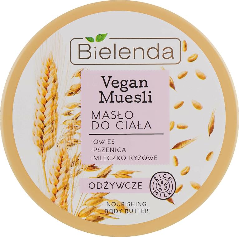 """Ulei nutritiv pentru corp """"Ovăz, grâu, lapte de orez"""" - Bielenda Vegan Muesli Nourishing Body Butter — Imagine N1"""