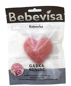 """Burete pentru curățarea feței, inimă """"Trandafir"""" - Bebevisa Konjac Sponge — Imagine N1"""