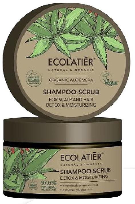 """Șampon scrub pentru păr """"Curățare și Detoxifiere"""" - Ecolatier Organic Aloe Vera Shampoo-Scrub"""