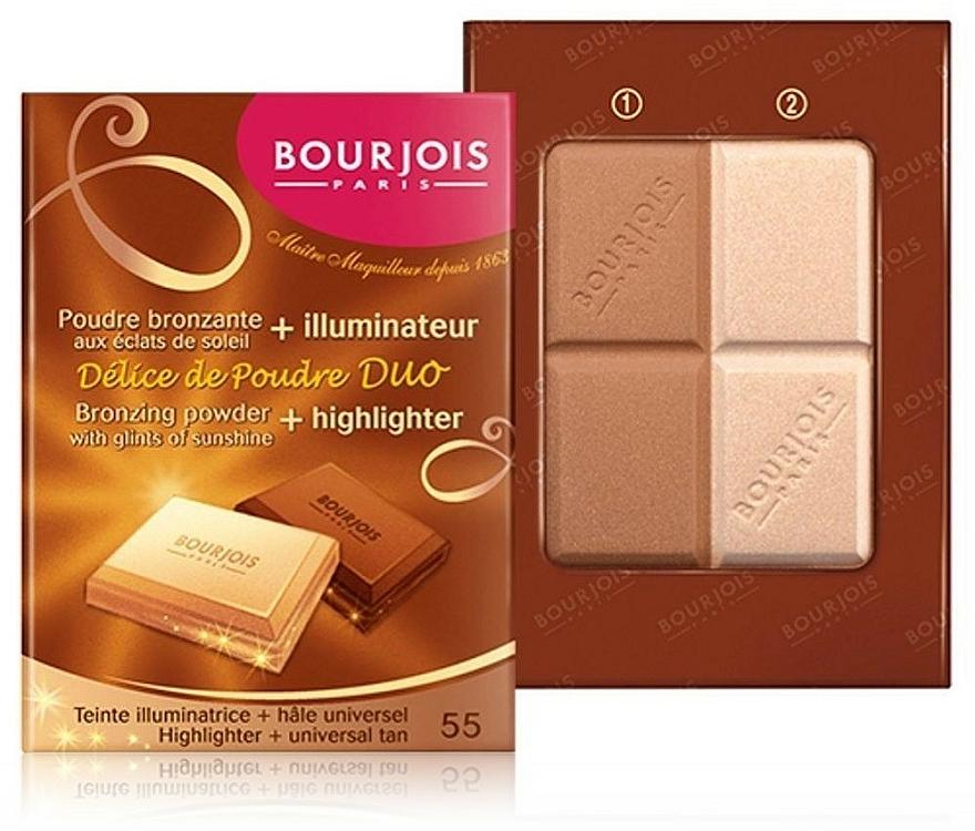 Pudră compactă pentru față - Bourjois Delice De Poudre Bronzing Duo Powder + Highlighter — Imagine N2