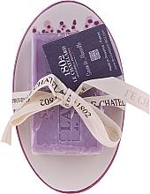 """Parfumuri și produse cosmetice Săpun """"Lavandă"""", cu săpunieră din ceramică - Le Chatelard 1802 Lavender Soap"""