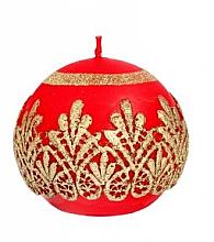 Parfumuri și produse cosmetice Lumânare decorativă, bilă, roșie, 10 cm - Artman Koronka Lace Christmas