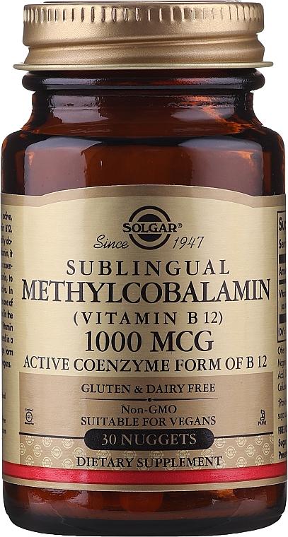 """Vitamine """"Metilcobalamina sublinguală"""" - Solgar Sublingual Methylcobalamin 1000 mcg — Imagine N1"""
