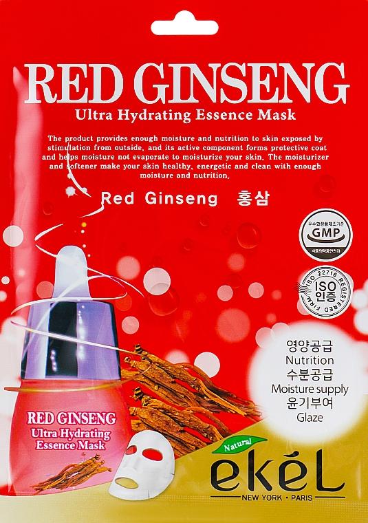 Mască din țesătură cu extract de ginseng roșu pentru față - Ekel Red Ging Seng Ultra Hydrating Essence Mask