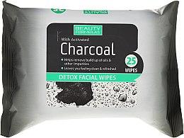 Parfumuri și produse cosmetice Șervețele demachiante pentru față, cu cărbune activat - Beauty Formulas Charcoal Detox Facical Wipes