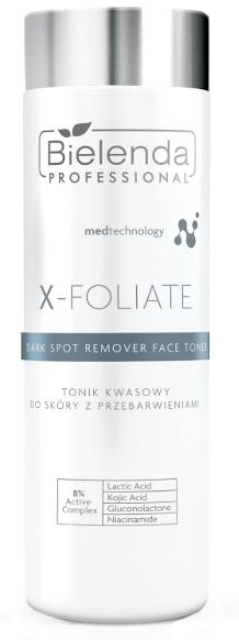 Toner iluminator pentru față - Bielenda Professional X-Foliate Dark Spot Remover Face Toner — Imagine N1