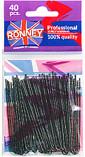 Parfumuri și produse cosmetice Cleme negre 70 mm, 40 buc. - Ronney Professional Professinal Curly Hairpins