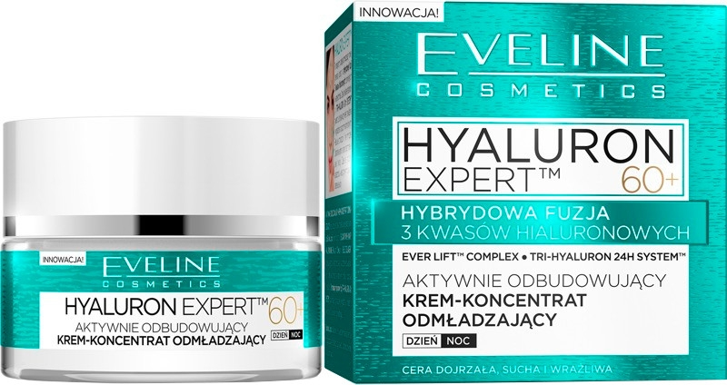Cremă lifting intensivă pentru zi și noapte SPF8 - Eveline Cosmetics Hyaluron Expert 60+ — Imagine N1