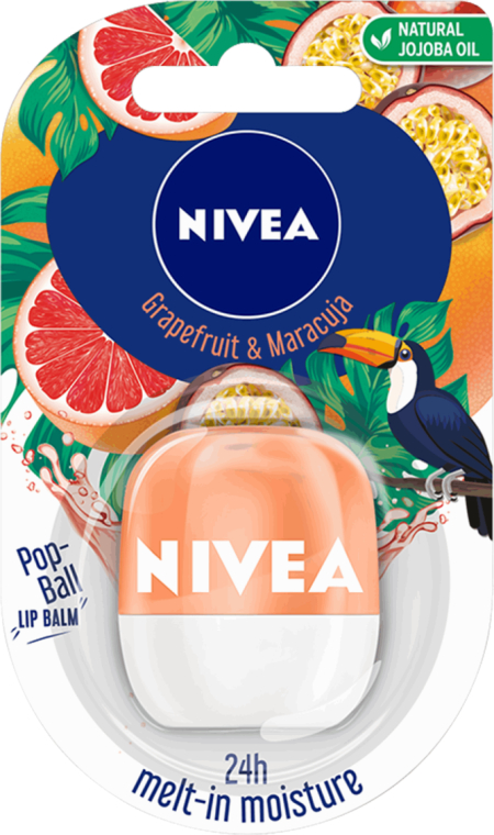 Balsam de buze - Nivea Pop-Ball Grapefruit & Maracuja Lip Balm — Imagine N1