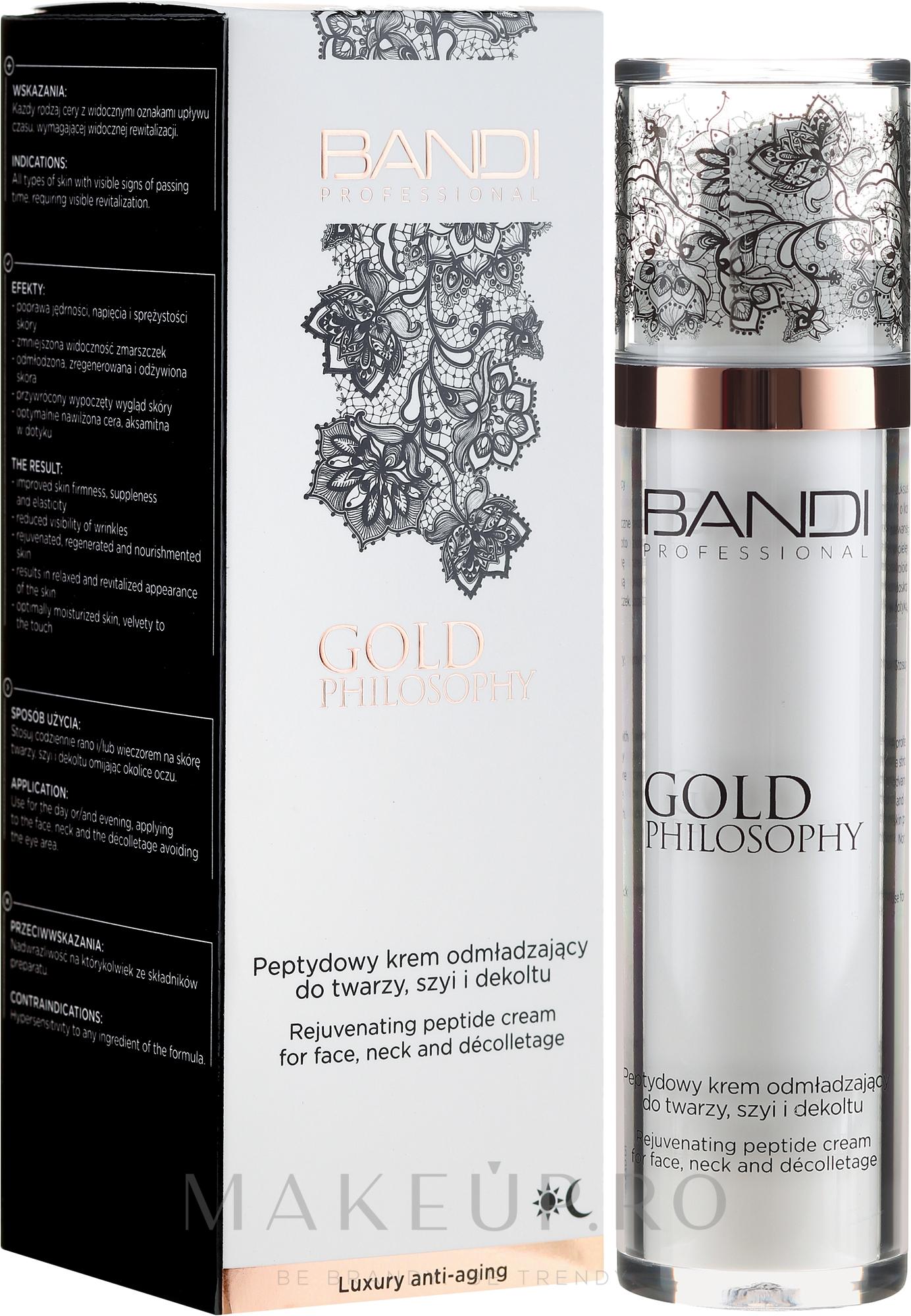 Cremă peptidică anti-îmbătrânire pentru față, gât și decolteu - Bandi Professional Gold Philosophy Rejuvenating Peptide Cream — Imagine 50 ml