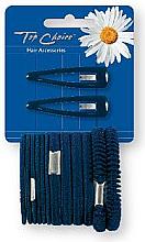 Parfumuri și produse cosmetice Set agrafe și elastice de păr, negre, 2+12 bucăți - Top Choice