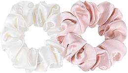 """Parfumuri și produse cosmetice Set de elastice din mătase naturală """"Midi"""" - Makeup Scrunchie Set Milk Powder"""