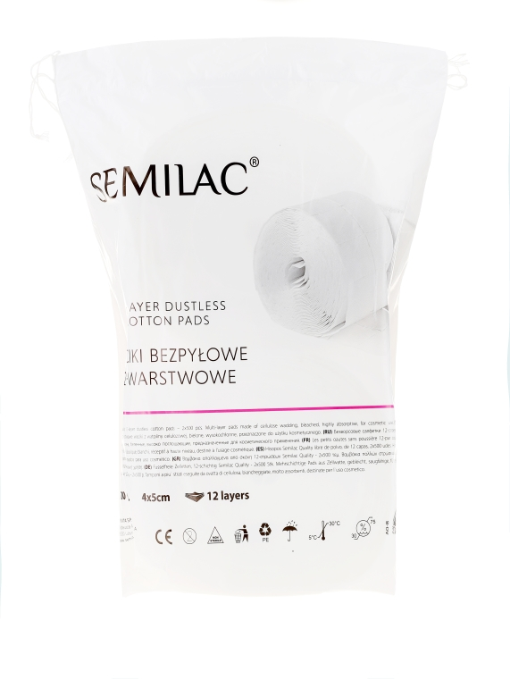 Vată din celuloză - Semilac Dust-Free Cotton Wipes