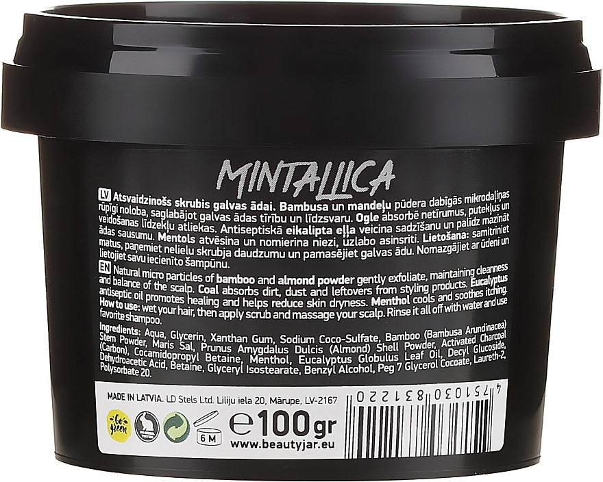 Scrub revigorant pentru scalp - Beauty Jar Mintallica Refreshing Scalp Scrub — фото N2