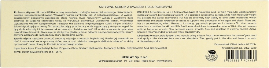 Ser facial cu acid hialuronic - Herla Hydraessence Active Serum With Hyaluronic Acid — Imagine N3