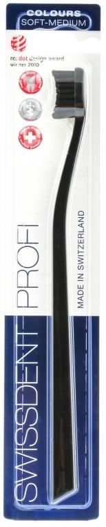Periuță de dinți, duritate medie, neagră - SWISSDENT Profi Colours Soft-Medium Toothbrush Black&Black — Imagine N1