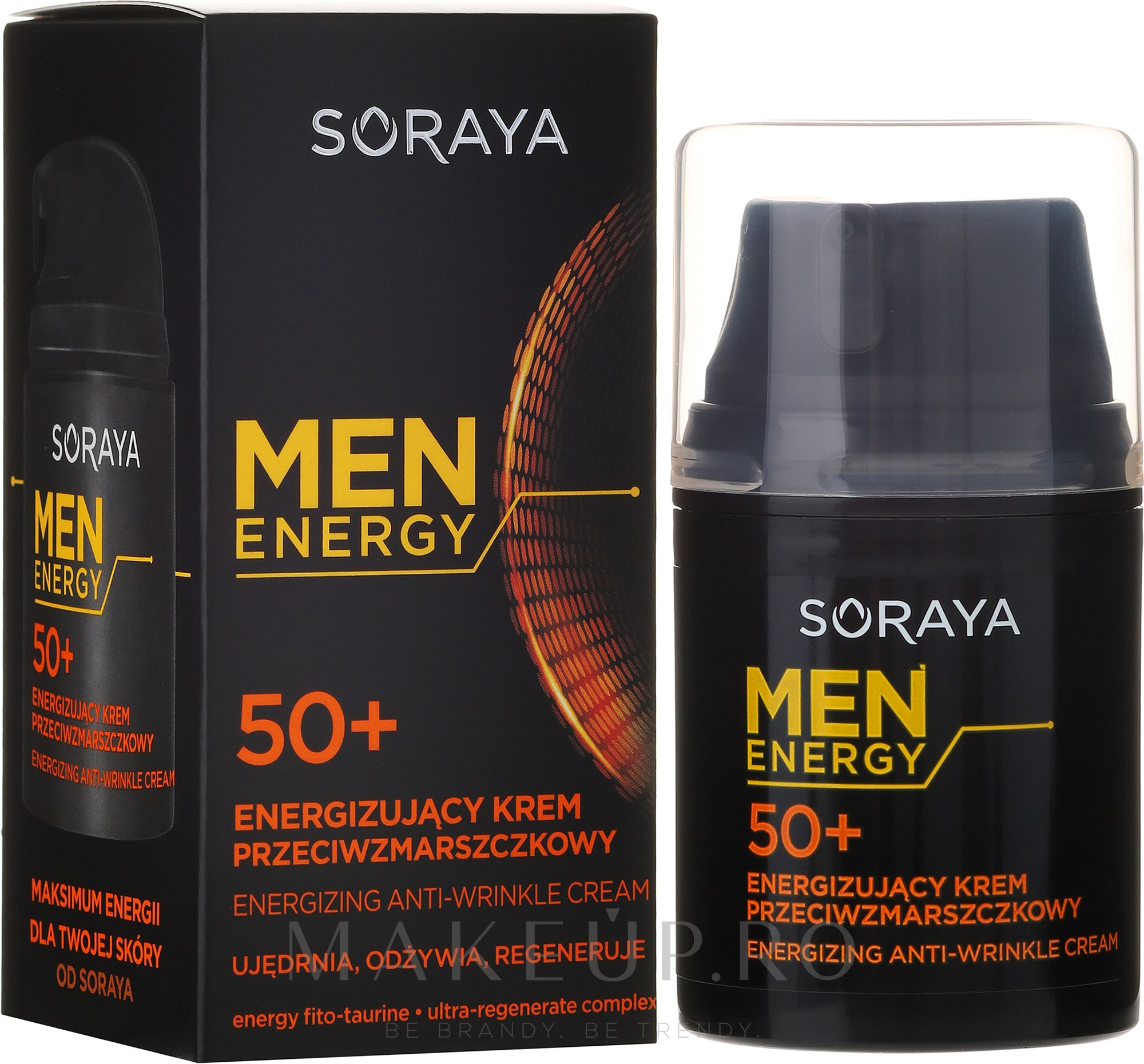 "Cremă antirid ""Nutriție și regenerare"" 50+ - Soraya Men Energy — Imagine 50 ml"