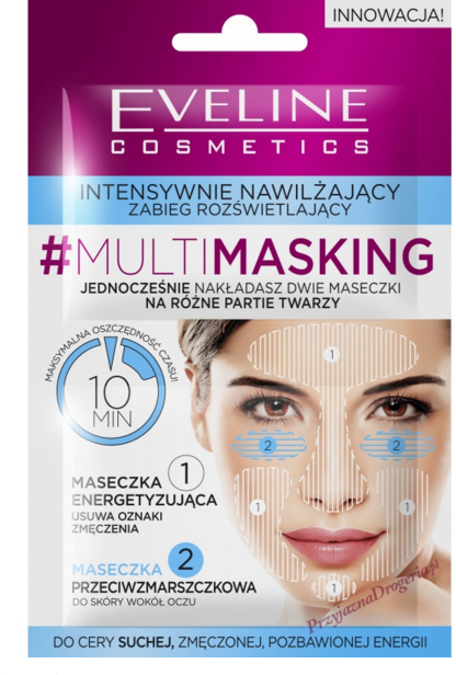 "Mască de față ""Hidratare și luminozitate"" - Eveline Cosmetics MultiMasking — Imagine N1"