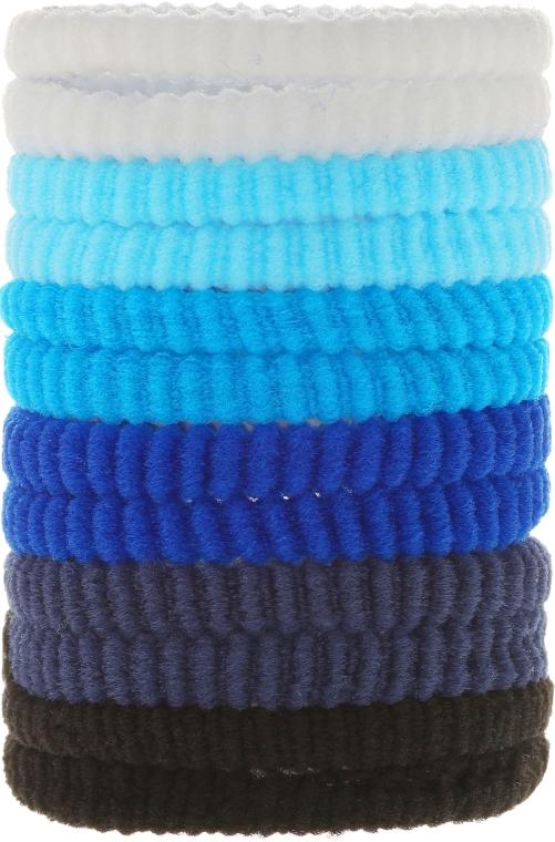 Elastice pentru păr 12 buc., mix albastru - Top Choice