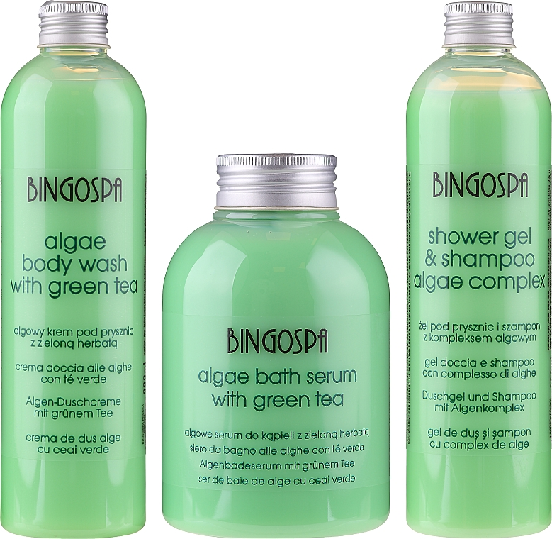 Set cadou - BingoSpa Green Set (bath/foam/500ml + shm/300ml + sh/gel/300ml) — Imagine N1