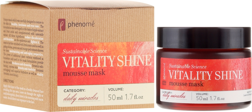 Mască de față - Phenome Sustainable Science Vitality Shine Mousse Mask — Imagine N1