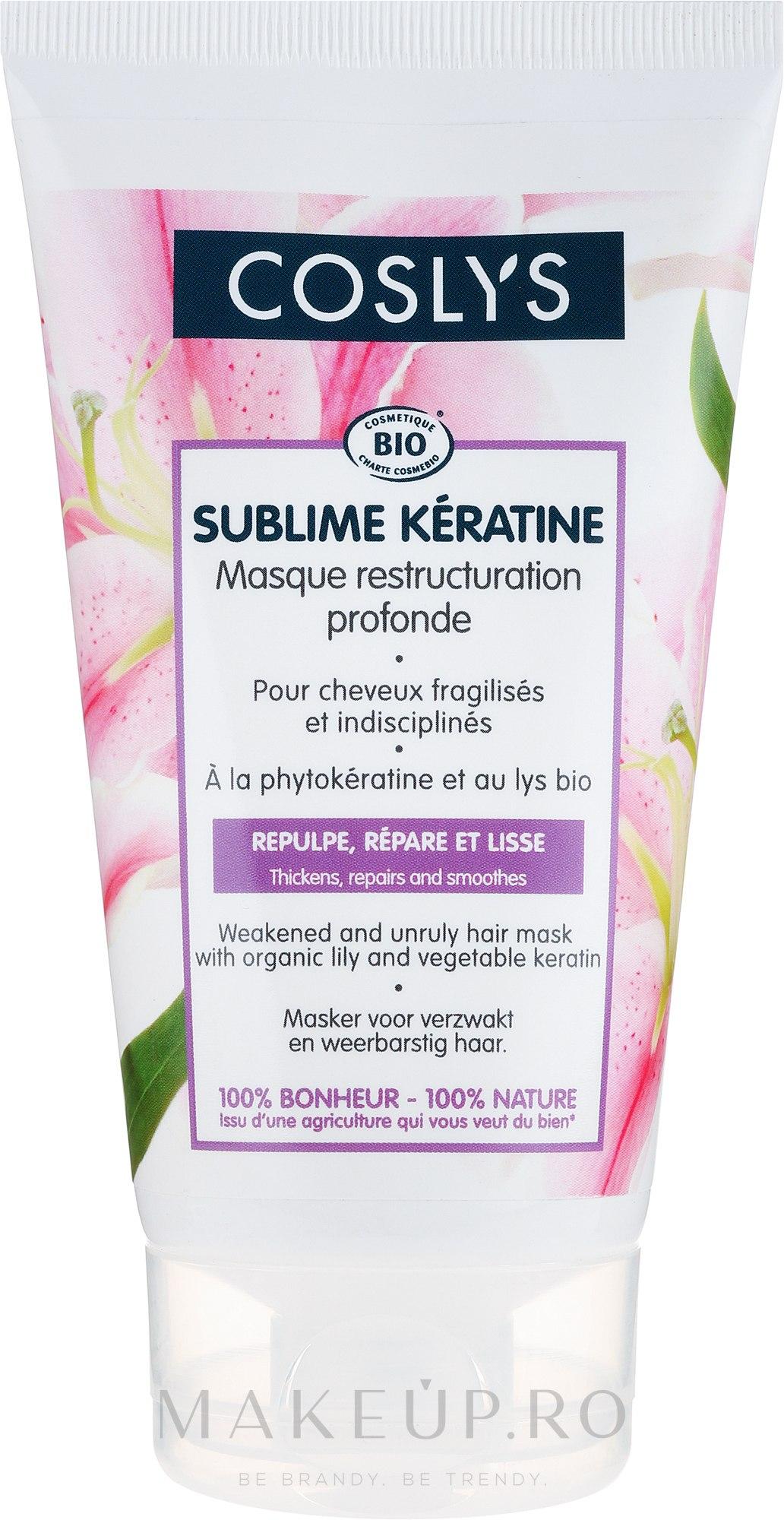 Mască de păr cu crin organic și keratină - Coslys Sublime Keratine Mask — Imagine 150 ml