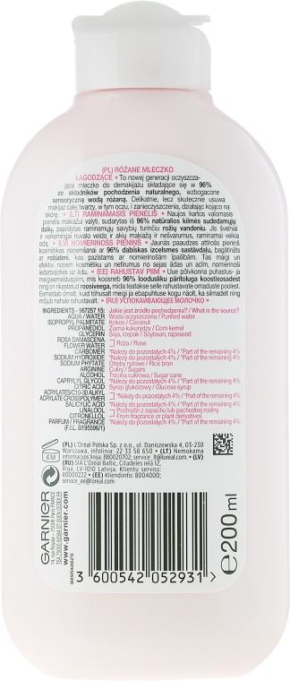 Lapte demachiant cu apă de trandafiri - Garnier Skin Naturals Botanical Rose Water Milk — Imagine N2