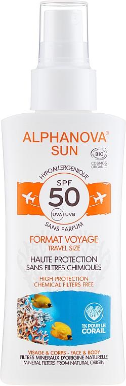 Spray cu protecție solară pentru corp - Alphanova Sun Bio SPF50 Spray Voyage — Imagine N1