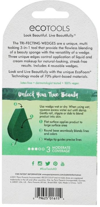 Set bureți de machiaj - EcoTools Tri-Fecting Wedges for Liquid & Cream Makeup (4buc) — Imagine N3