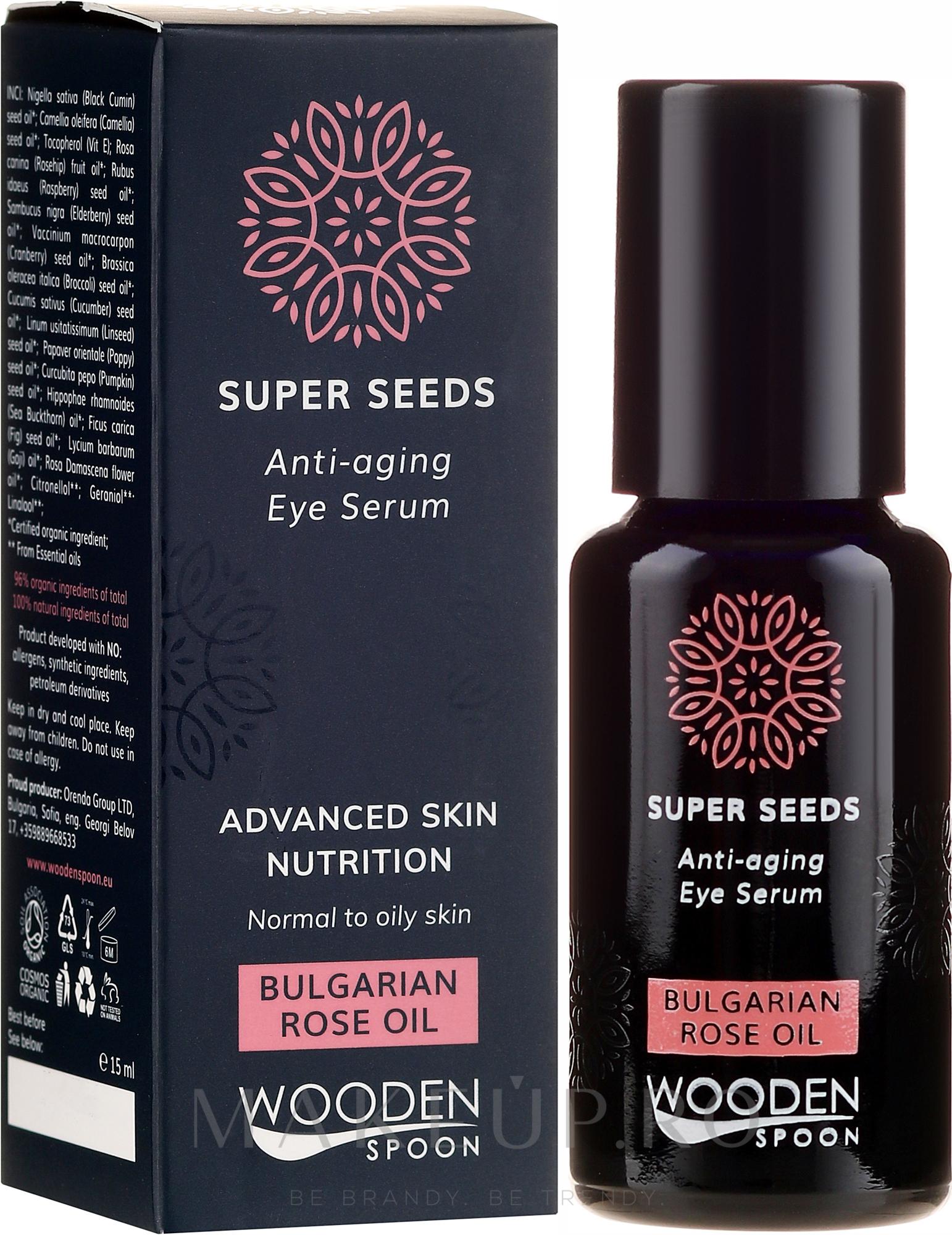 Ser pentru ochi - Wooden Spoon Super Seeds Bulgarian Rose Oil Anti-aging Eye Serum — Imagine 15 ml