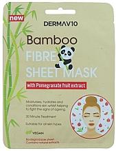 Parfumuri și produse cosmetice Mască din țesătură din fibră de bambus cu rodie pentru față - Derma V10