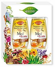 Parfumuri și produse cosmetice Set - Bione Cosmetics Honey + Q10 (shm/260ml+sh/gel/300ml)