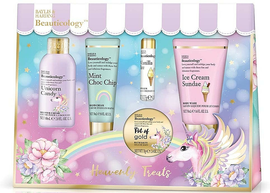 Set - Baylis & Harding Beauticology Unicorn Assorted Set (bath/soak/70ml+b/wash/50ml+sh/cr/60ml+h/cr/30ml+/lip/balm/5g) — Imagine N1