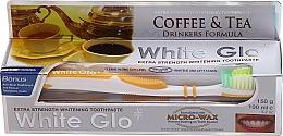 """Parfumuri și produse cosmetice Set """"Pentru iubitorii de ceai și cafea"""", perie galbenă - White Glo Coffee & Tea Drinkers Formula Whitening Toothpaste (t/paste/100ml + t/brush)"""
