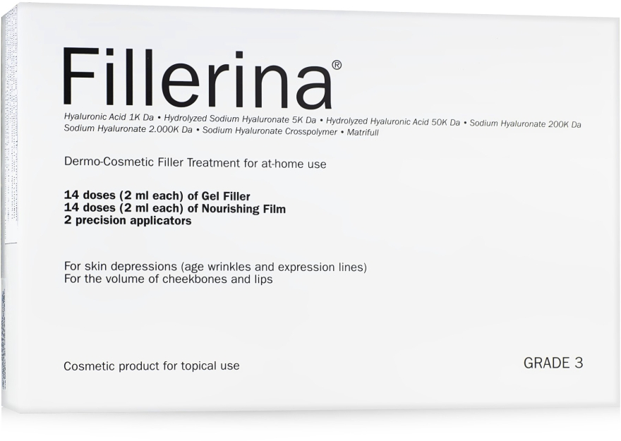 Sistem dermato-cosmetic, nivel 3 - Fillerina Dermo-Cosmetic Filler Treatment Grade 3 (gel/30ml + cr/30ml + applicator/2szt) — Imagine N1