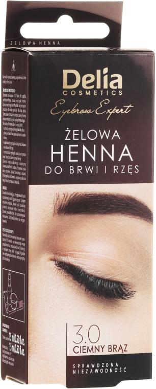 Gel vopsea pentru sprâncene, maro închis - Delia Eyebrow Tint Gel ProColor 3.0 Dark Brown