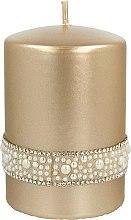 Parfumuri și produse cosmetice Lumânare decorativă, aurie, 7x10 cm - Artman Crystal Opal Pearl