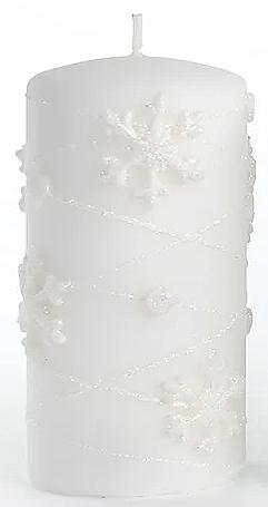 Lumânare decorativă, albă, 7x14 cm - Artman Snowflake Application — Imagine N1