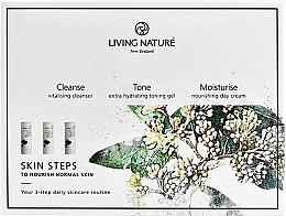 Parfumuri și produse cosmetice Set - Living Nature Skin Steps To Normal Nourish Skin (milk/50ml + gel/50ml + cr/50ml)