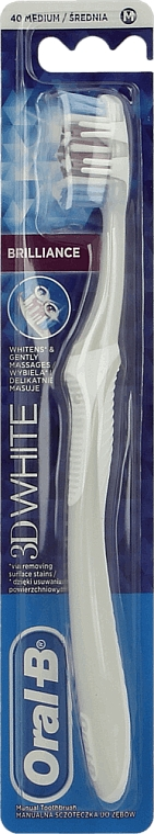 Periuță de dinți, argintie - Oral-B 3 White Brilliance — Imagine N2